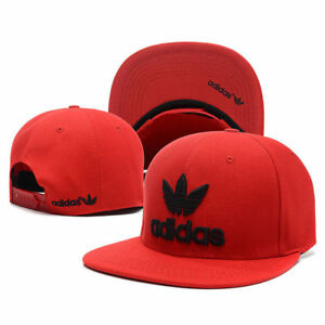 Embroidered-Adidas-Trefoil-Snapback-Flat-Cap-Red-One-Size-Fits-Most