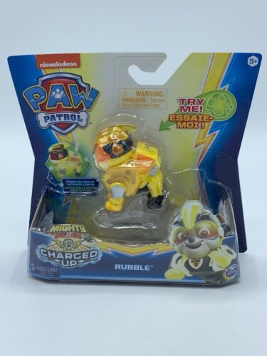 """PAW Patrol /""""RUBBLE/"""" Mighty Pups Charged Up Collectible Figure SEALED NEW!!"""