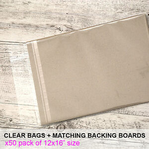 12x16-50-pk-Clear-Cello-Reseal-Bags-Sleeves-Matching-Backing-Boards-700gsm