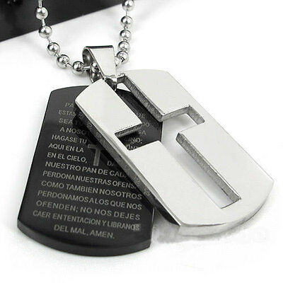 New Gift Unisex's Man Men's Stainless Steel Cross Bible Pendant Tag Necklace