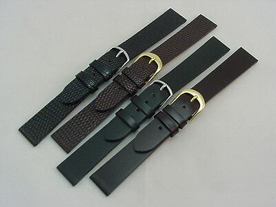 Genuine Leather Flat Style Watch Band / Strap (18 mm, 16 mm, 14 mm)