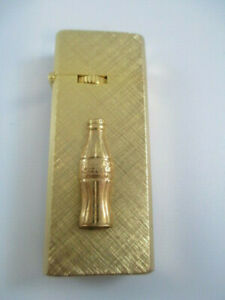 Coca-Cola-Vintage-Goldtone-Barlow-Butane-Collectible-Cigarrette-Lighter