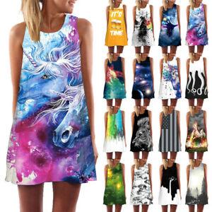 Women-Galaxy-Animals-3D-Print-Tank-Top-Summer-Shirt-Casual-Prom-Party-Mini-Dress
