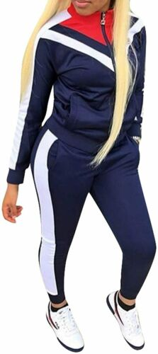 Womens Color Block Tracksuit 2 Piece Outfits Casual Long Sleeve Full Zip Jacket
