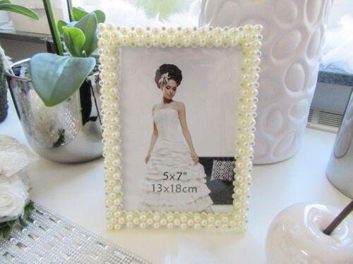 Kunststoff Bilderrahmen Hochzeit Perlenrand mit Glitzersteinen cremefarben