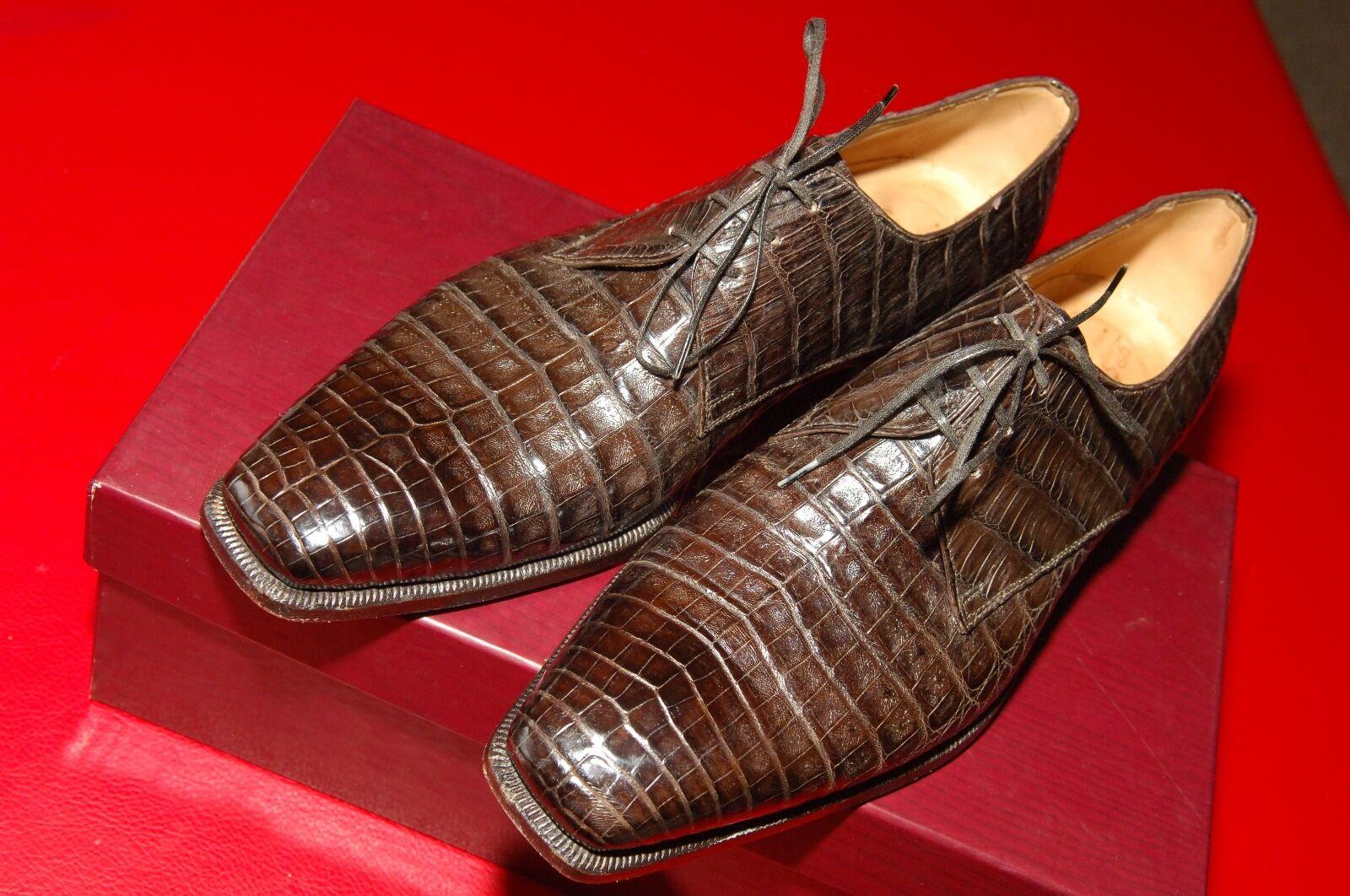 Homme Lidfort Crocodile Chaussures à lacets, marron chocolat, EU 9, US 10, Comme neuf