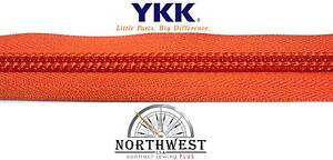"Genuine YKK Nylon Coil Zipper Tape #10 - 10 yards ""Tangerine"" Extra Heavy Duty"