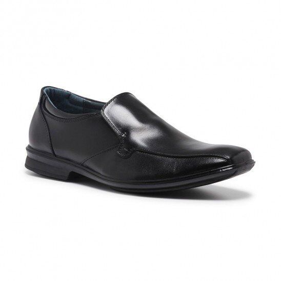 HUSH PUPPIES MENS CAHILL SLIP ON BLACK LEATHER COMFORT WORK SHOES