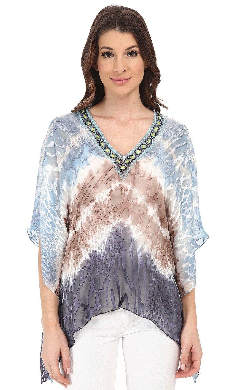 Hale Bob Blau Taupe Silk Burnout Dip Dye Beaded Dolman Top Shirt Blouse Sz S NWT