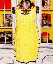 Betsey Johnson VINTAGE Dress TARTAN Layered YELLOW Plaid RUFFLE Tier GINGHAM 4 S