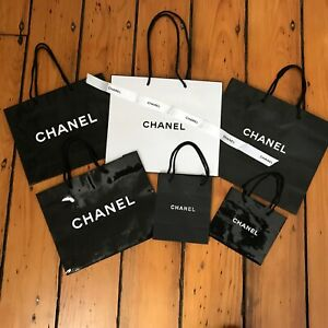2e6813ac27a4 CHANEL Authentic Set 6 Paper Shopping Gift Bag & 1 Ribbon Various ...