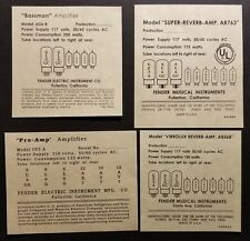 Reproduction Fender Amplifier Tube Charts