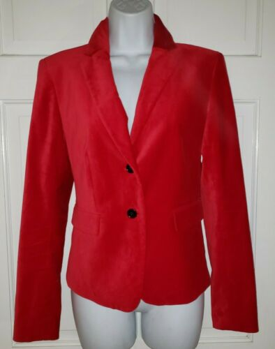 ANN TAYLOR Red stretch Velvet Blazer Jacket 4