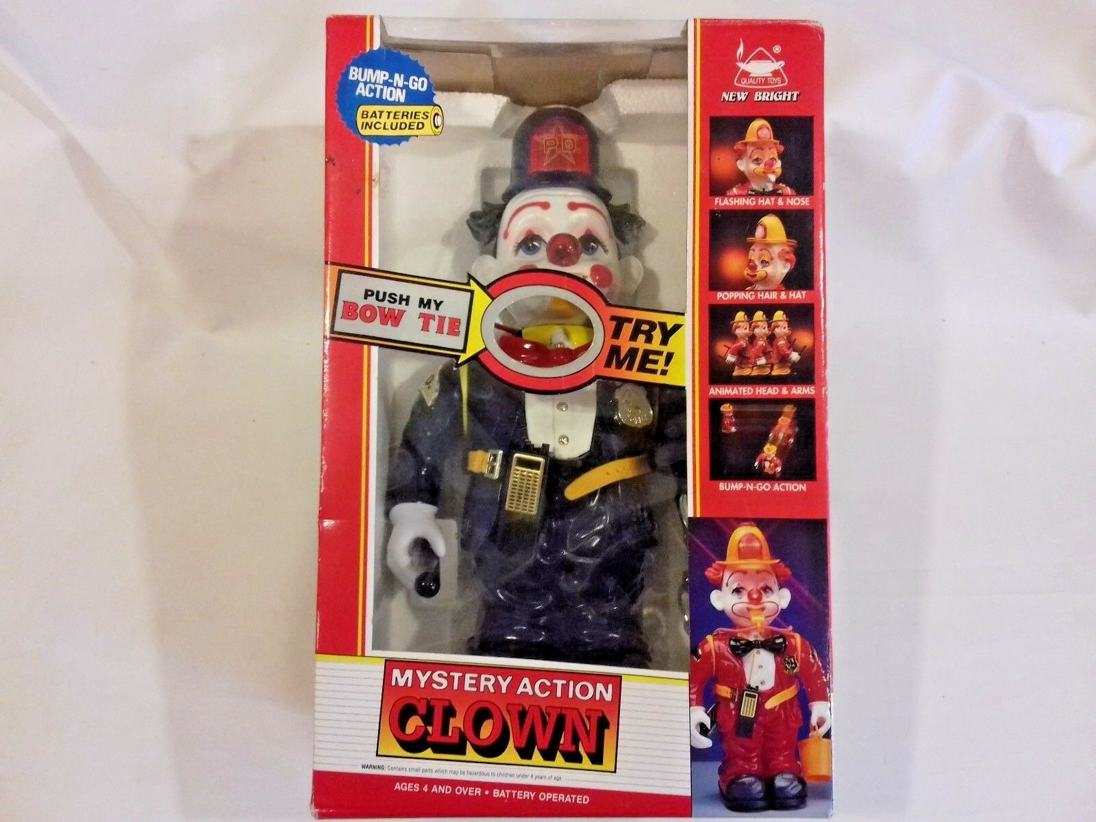 MYSTERY ACTION BUMP-N-GO 14  CLOWN POLICEMAN B O NEW BRIGHT VINTAGE 1991 BOXED