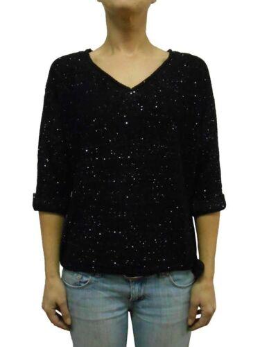 NWT DKNY Womens SEQUIN V-NECK SWEATER 3//4 Sleeve /&Drawstring Waistband Black 1X