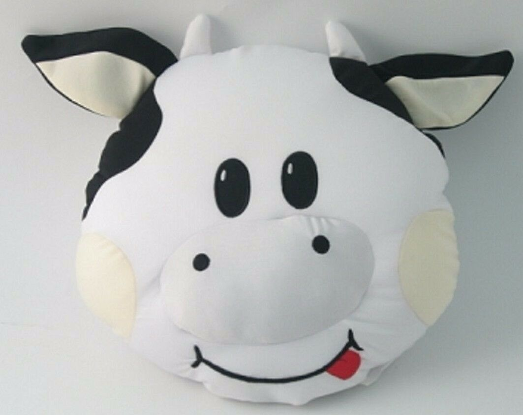 Snow Foam Micro Beads 13  bianca Cow's Face with tongue out Cushion-Brand Nuovo