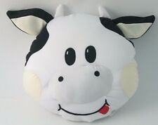 """Snow Foam Micro Beads 13"""" White Cow's Face with tongue out Cushion-Brand New!"""