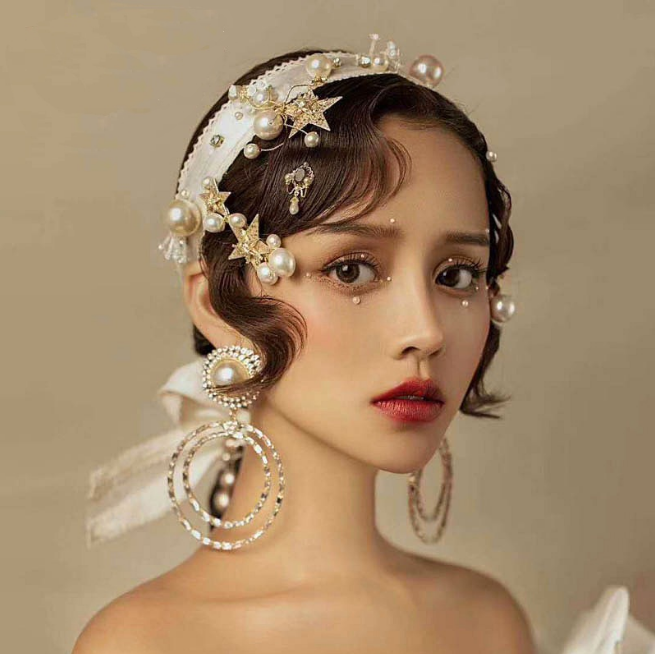 7pcs Set Korean Princess Wedding Accessory Bride Barrette Earrings Tiara Jewelry
