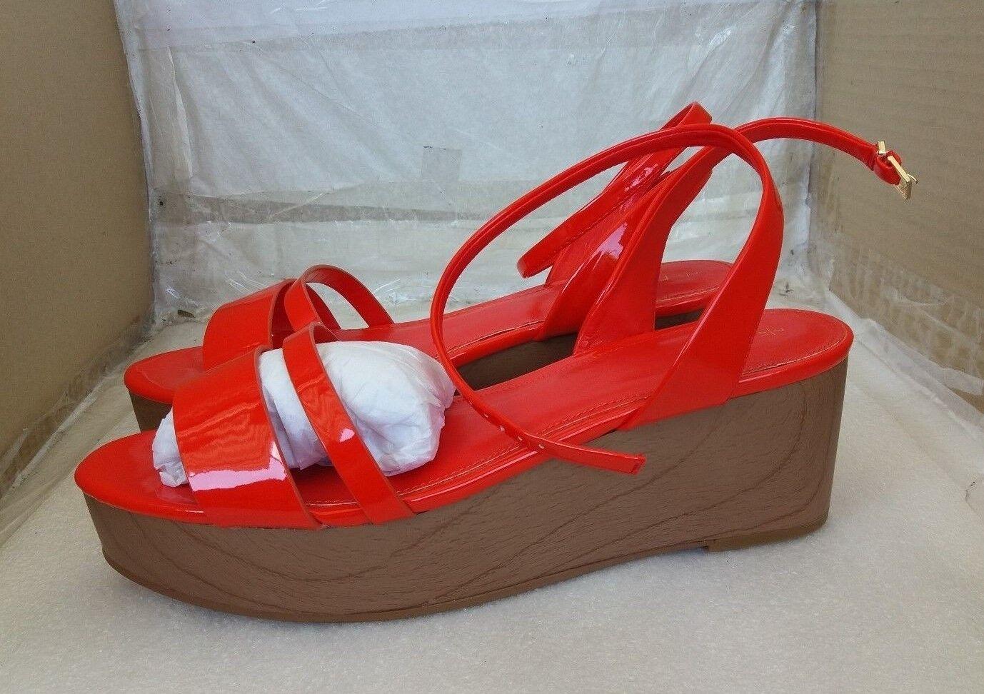 NEXT Stylish Summer Wedge Sandales - Patent Orange - UK 7/EU 41