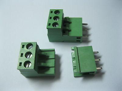 10 pcs Green 3 pin 5.08mm Screw Terminal Block Connector Pluggable Type