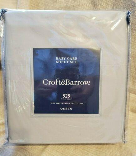 Croft /& Barrow Queen Sheet Set 525 Thread Count Light Gray