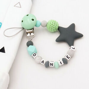 Personalized Name Natural Wooden Silicone Beads Baby Pacifier Chain Clips Holder