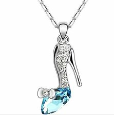 GirlZ!swarovski Like element Crystal shoe of cinderella pendant with chain