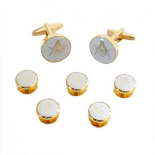 White /& Gold Masonic CUFFLINKS with G /& 5 Button Studs Formal Birthday Present