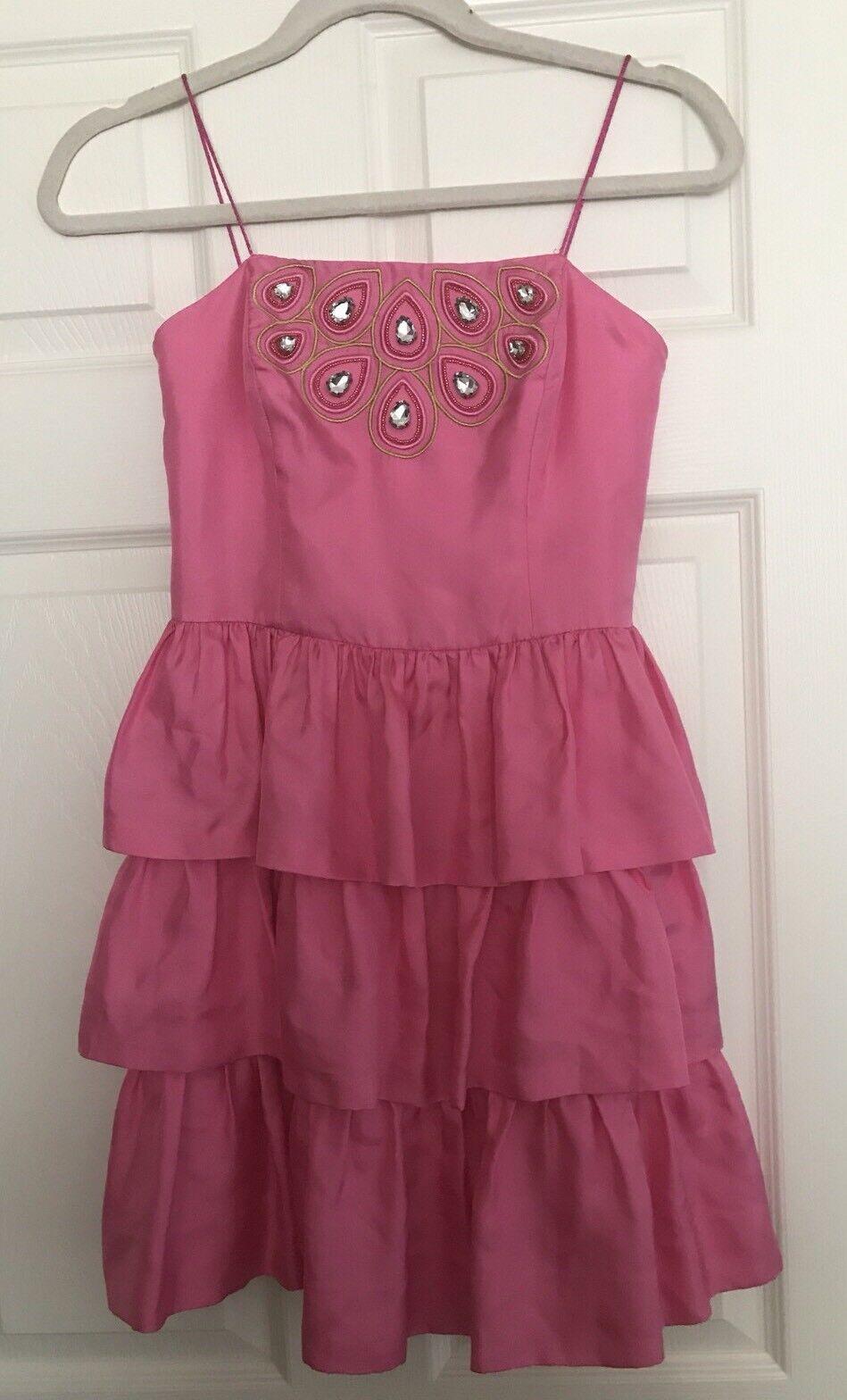 Lilly Pulitzer Silk Tiered Dress W  Rhinestone Detail Sz 0