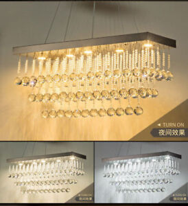 Details About Dimmer Led Rectangular Crystal Chandelier Ceiling Lamp Fixtures Pendant Light