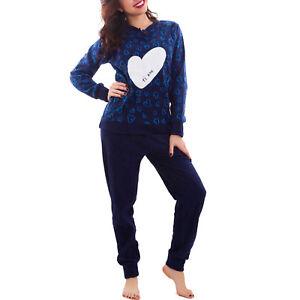 1c5df08677da Details about Women s pajamas fleece heart i love you hot trousers winter  new 771