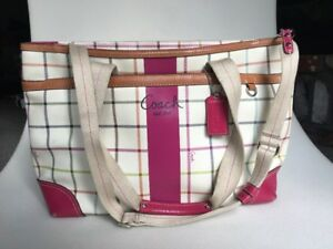 ba5397a4bbe1 Image is loading Coach-F14792-Pink-White-Leather-Tattersall-Plaid-Diaper-