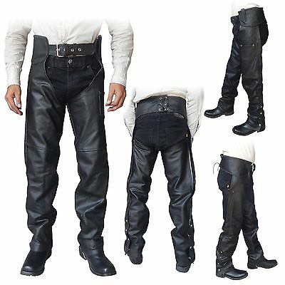 ARD CHAMPS™ Unisex Genuine Black Leather Motorcycle Chaps for Bikers S to 6XL