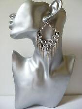 "Big! antique look silver tone punk style spike & chain drop earrings, 4"" long"