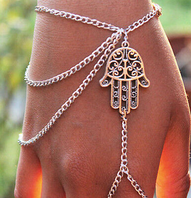 Slave Vintage Womens Hamsa Fatima Bracelet Chain Link Finger Ring Hand Harness