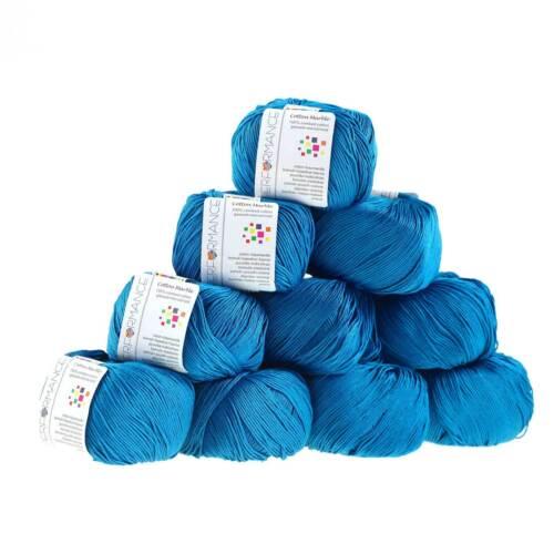 10 x 50g Strickgarn Cotton Marble #128 blau 51,38€//1kg