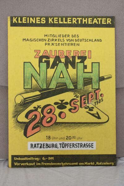 Gewidmet Kleines Kellertheater Ratzeburg, Magischer Zirkel, Zauberei Ganz Nah Plaket 1985