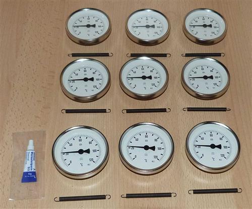 Anlegethermometer Set 9x Metallausführung Ø80mm -120°C + Wärmeleitpaste(5932