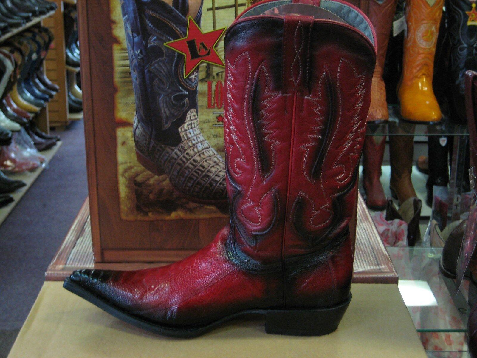 LOS ALTOS RED 3X-TOE GENUINE OSTRICH OSTRICH OSTRICH LEG WESTERN COWBOY BOOT (EE) 95EV0529 6893f5