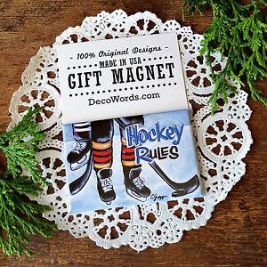 ICE-HOCKEY-Magnet-Hockey-Rules-DecoWords-Gift-New-in-Pkg-Goal-Skates-USA