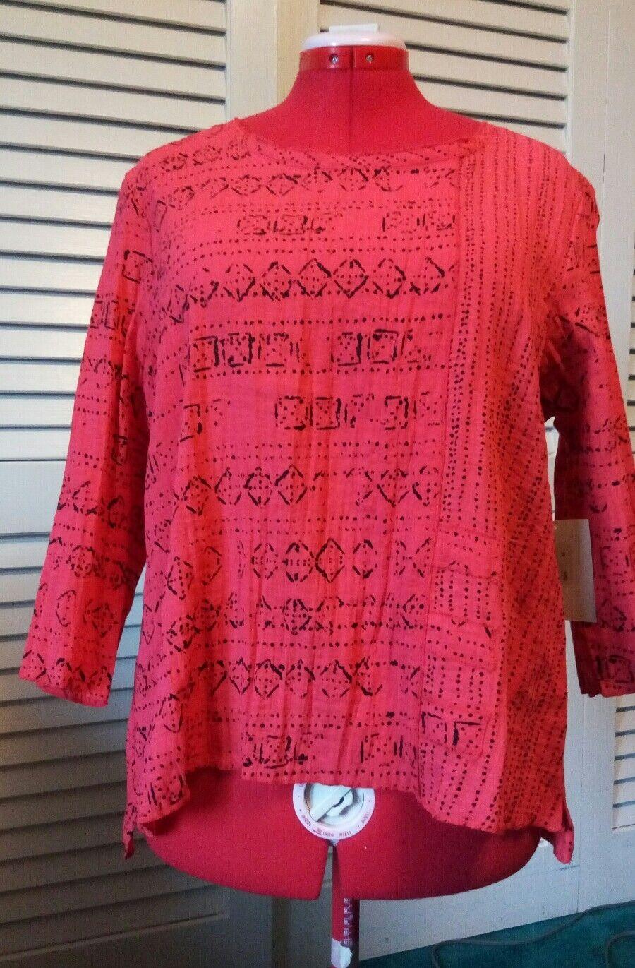 New HABITAT Large DEEP CORAL blouse POPPY Gorgeous