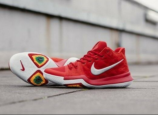 AUTHENTIC NIKE Kyrie 3 Red Wolf Grey White 852395 601 Basketball Men size