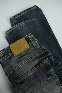 NUDIE-JEANS-GRIM-TIM-USED-BLACKCOATED-Men-039-s-W33-L32-Worn-Look-Jeans-3555-mm