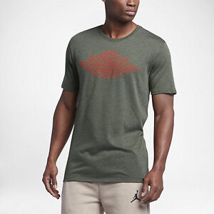 Jordan Iconic Wings Men's T-Shirts Dark Army Heather/Orange
