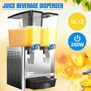 2-Tank-Commercial-Juice-Beverage-Dispenser-Cold-Drink-w-Thermostat-Controller