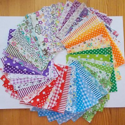Fashion 10X10CM Square Cotton Fabric Floral Flower Printing Patchwork 50 Pieces