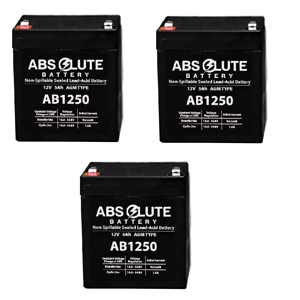3 PACK NEW AB1250 12V 5AH Security Alarm Battery Replaces 4Ah DSC BD412