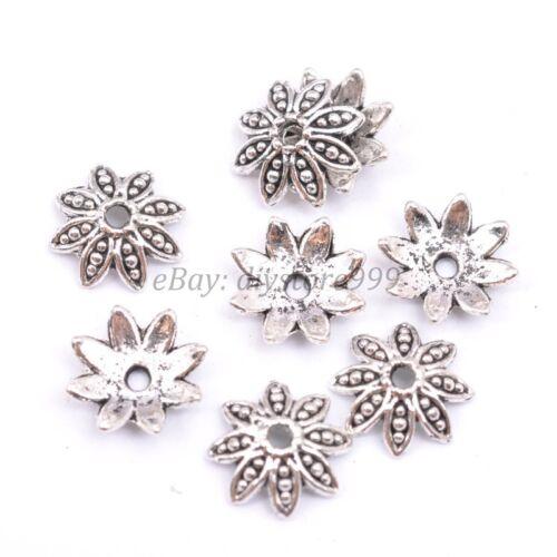 20Pcs Tibetan Silver Metal Flower Loose Spacer Bead Caps 6MM 8MM 10MM 12MM 14MM