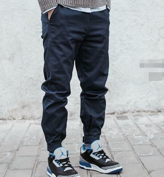 Men's Casual Fashion Jogger Twill Pants Cargo Long Harem Cuffed Trousers B452