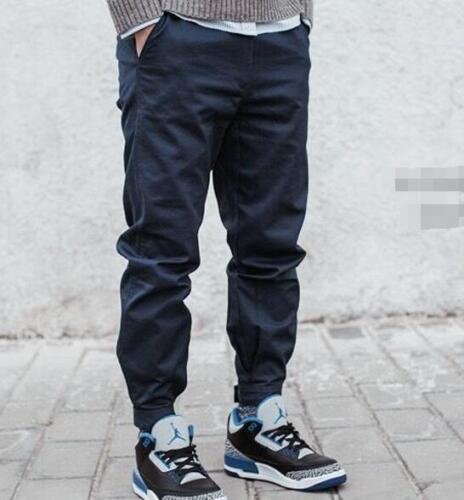 Men/'s Casual Fashion Jogger Twill Pants Cargo Long Harem Cuffed Trousers B452
